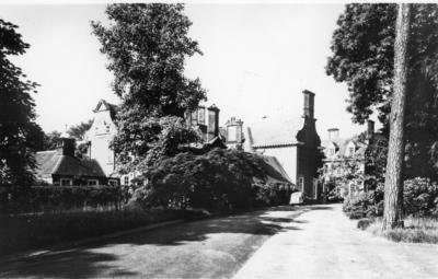 Exterior view of Barnett Hill House showing the main drive leading to the front of house