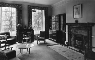 Interior view of Barnet Hill House showing the library on the ground floor