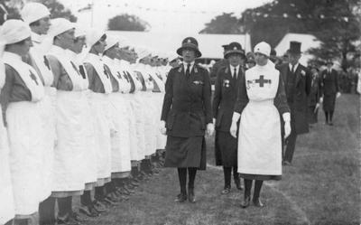 Black and white photograph showing an inspection of a Norfolk Detachment by Princess Mary