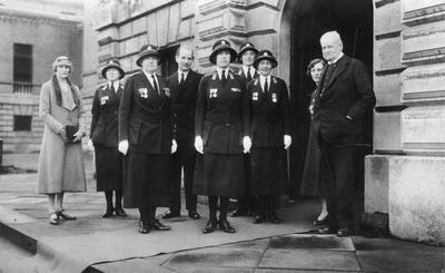 Black and white photograph showing a group of Red Cross officers with Princess Mary