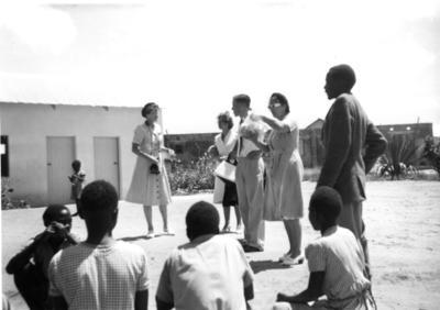 Students and adults at Chikankata leper children school, Northern Rhodesia