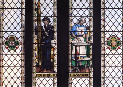Postcard showing the Red Cross window in Bristol cathedral