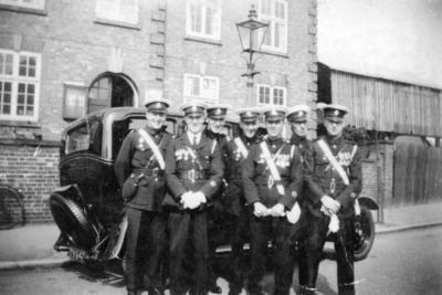 Group of men in Red Cross uniform with vehicle in Arnold, Nottinghamshire