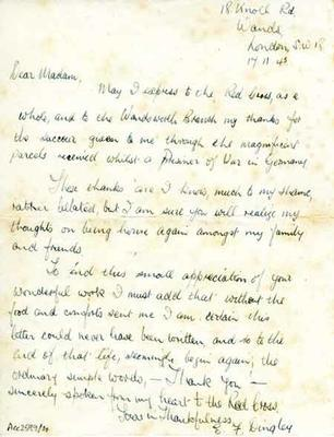 Letter of thanks to the British Red Cross from a former prisoner of war