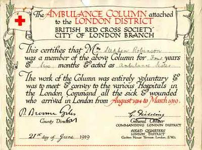 Certificate awarded to Mrs Stephen Robinson for membership of the London Ambulance Column during the First World War