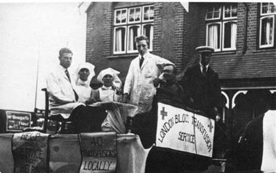 Black and white photograph. London blood transfusion service carnival float