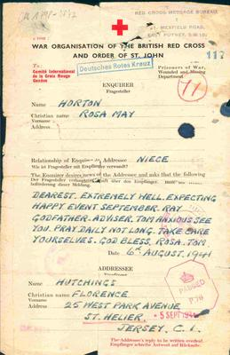 reproduction Red Cross Message form