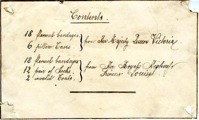 Label listing items sent by Queen Victoria and Princess Louise, undated; Medical Equipment; WAN/1/5/11