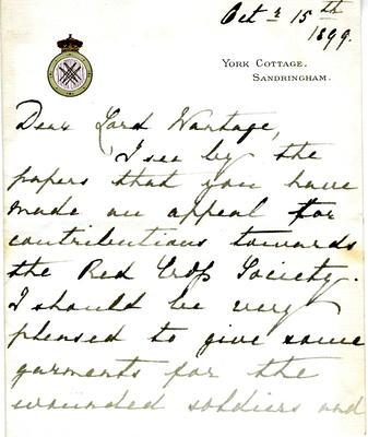 Letter to Lord Wantage from 'Victoria Mary,' 15 October 1899
