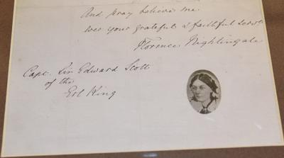 Framed letter: Reproduction of letter from Florence Nightingale to Captain Edward Scott thanking him for rescuing four nurses in the SS Erl King, 1878