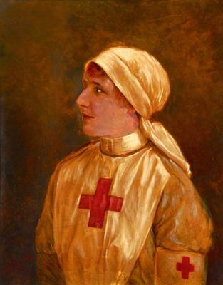 Portrait of Miss Hedvica M. Shlehover in British Red Cross uniform.