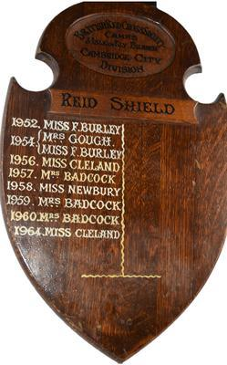 Wooden trophy: Reid Shield