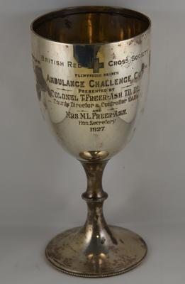 Silver competition cup, engraved 'British Red Cross Society, Flintshire Branch, Ambulance Challenge Cup'