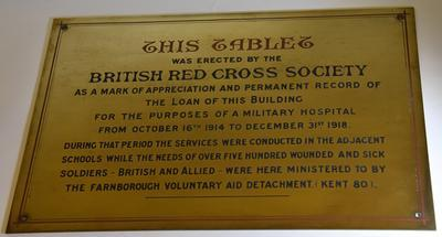 Brass memorial plaque from Farnborough Methodist Church