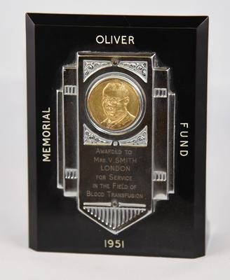 Award: Oliver Memorial Fund Award 1951; Awards and Commemorations/plaque; 562/62
