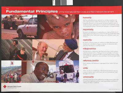 Fundamental Principles of the International Red Cross and Red Crescent Movement poster, illustrated with seven coloured images.