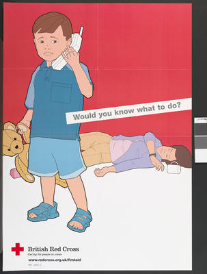 Large poster showing a small child holding a teddy bear in one hand and a telephone in the other. His mother lies on the floor behind him. The words 'Would you know what to do?' appear across the poster.