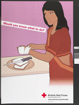 Large poster showing a woman bandaging her left hand. She stands next to a table where she has been cutting bread. The words 'Would you know what to do?' appear on the left hand side.