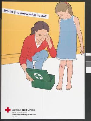 Large poster showing a young girl who has cut her knee and is crying. A woman crouches next to her with an open first aid box in front of her. The words 'Would you know what to do?' appear on the left hand side.