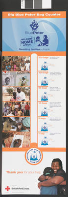 Totaliser poster showing what activities a certain amount of donated clothing would buy, part of the Blue Peter Welcome Home Appeal in 2004