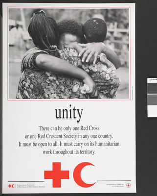 Poster illustrating the Fundamental Principles of the International Red Cross: Unity