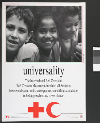Poster illustrating the Fundamental Principles of the International Red Cross: Universality.