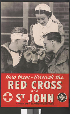 Large poster showing a St John Ambulance VAD lighting cigarettes for a soldier and sailor: 'Help them - through the Red Cross & St John.'