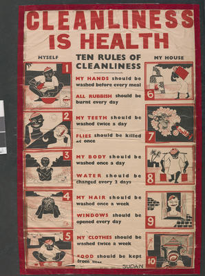 poster: 'Cleanliness is Health' illustrated with the ten rules of cleanliness