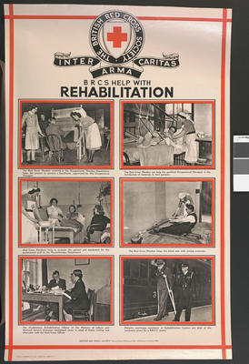 One of a set of large posters illustrating the services of the British Red Cross: British Red Cross Help with Rehabilitation.