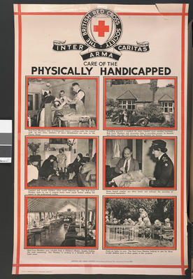 One of a set of large posters illustrating the services of the British Red Cross: Care of the Pysically Handicapped.