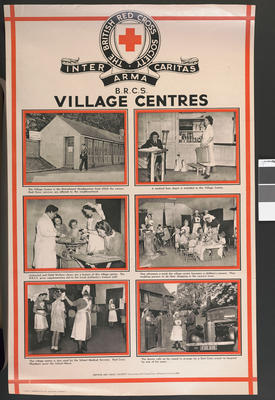 One of a set of large posters illustrating the services of the British Red Cross: British Red Cross Village Centres.