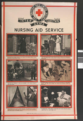 One of a set of large posters illustrating the services of the British Red Cross: Nursing Aid Service.