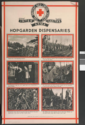 One of a set of large posters illustrating the services of the British Red Cross: Hopgarden Dispensaries.