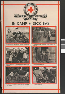 One of a set of large posters illustrating the services of the British Red Cross: In Camp and Sick Bay.