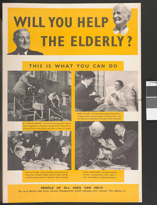 poster appealing for volunteers to help the elderly