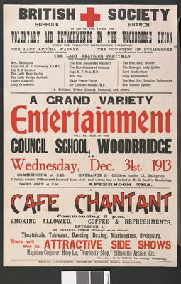 Poster advertising entertainments at the Council School, Woodbridge - 31st December 1913