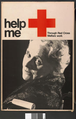 Poster (on card): 'help me - Through Red Cross Welfare Work'