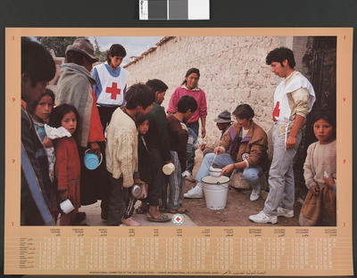 ICRC calendar/poster depicting milk distribution, possibly in Central/South America