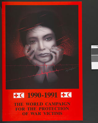 poster produced for the 1990-1991 World Campaign for the Protection of War Victims