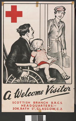 'A Welcome Visitor - Scottish Branch Red Cross visiting a 'soldier' in a wheelchair with small child on lap.