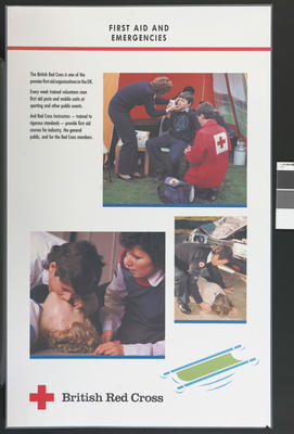 Set of five large laminated posters illustrating the work of the BRC: First Aid and Emergencies