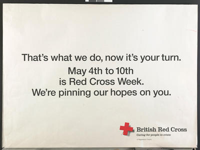 "Postal frank for Red Cross Week 1994, with slogan ""We're pinning our hopes on you"""