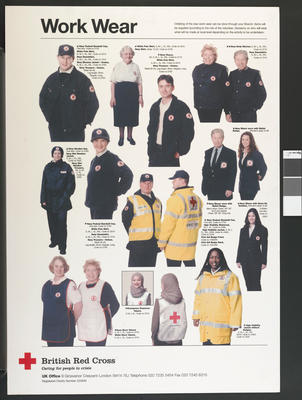 Poster advertising the new British Red Cross workwear.