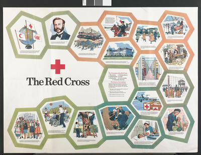 poster illustrating key moments in red cross history, as well as the Principles of the Red Cross and the Geneva Conventions.