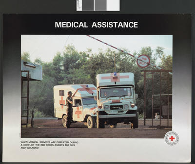One of a set of four colour ICRC posters: Medical Assistance