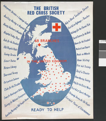 Poster promoting British Red Cross services
