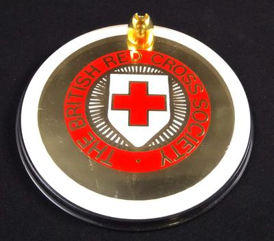 Plastic circular British Red Cross pen holder