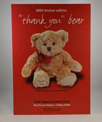 "A4 carboard poster, Red Cross Week 2005 ""Thank You"" Bear Campaign; Printed Docs (museum)/poster; 2260/1"