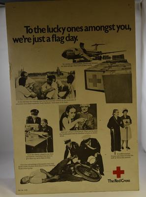 Red Cross cardboard display poster, 'To the lucky ones amongst you, we're just a flag day.'