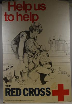 Cardboard British Red Cross Society display poster, 'Help Us to Help.'